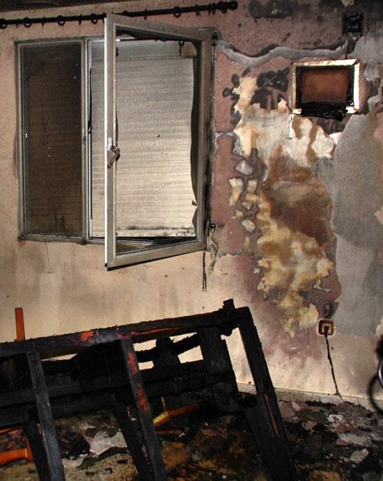 Incendio salón provocado por estufa eléctrica