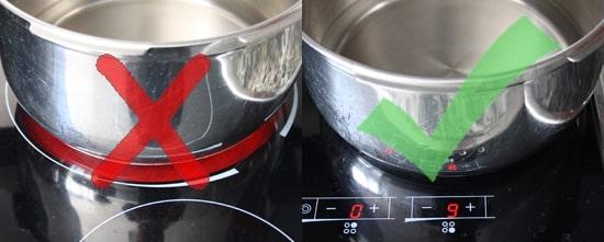 Comparación entre usar un fuego pequeño en la vitrocerámica convencional a usar un fuego grande donde se escapa la radiación.