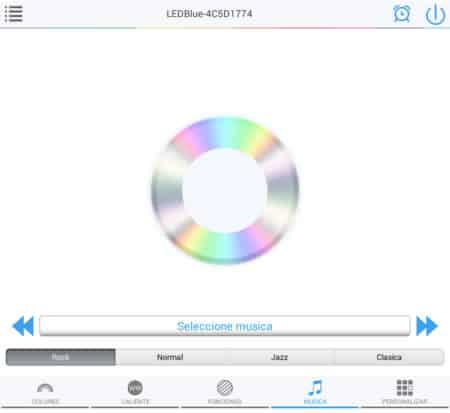 pantalla música app bombilla bluetooth