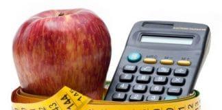 manzana cinta métrica y calculadora