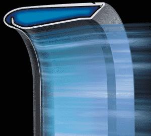 Se aprecia el efecto coanda en el aire saliendo por la curva del anillo del ventilador