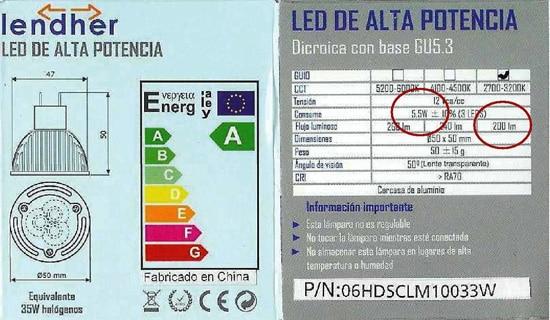 Etiqueta energética LED 12V