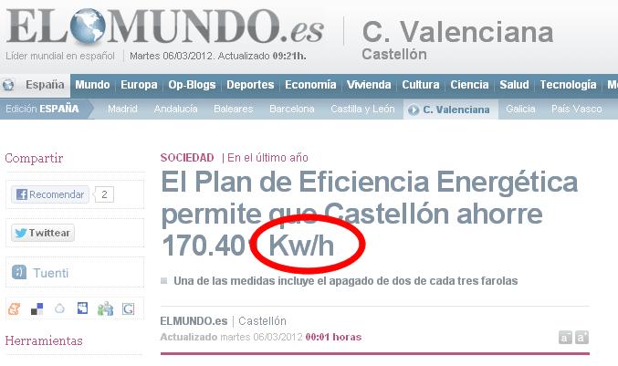 ejemplo mal uso de unidades de energia