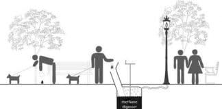 esquema sistema de generación de energía por heces de perro
