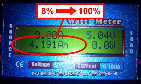 medida con el watt meter de la batería del thl 4400