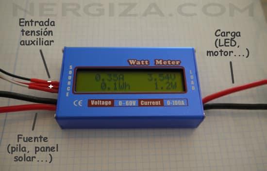 esquema conexionado medidor potencia continua