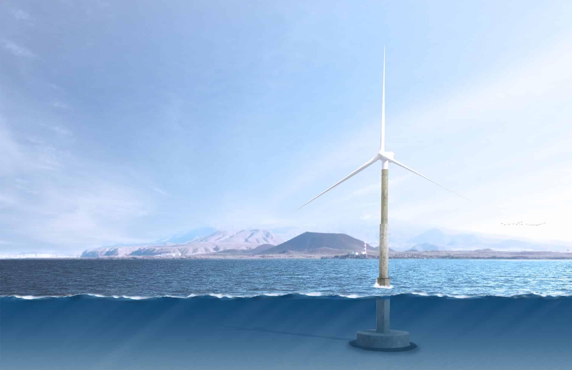 Dibujo del primer aerogenerador marino España
